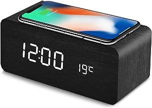 HZDHCLH 置き時計 デジタル 目覚まし時計 Qiワイヤレス充電機能 android iphone 木目調 日付 温度 USB給電 音声感知 省エネ (ブラック)