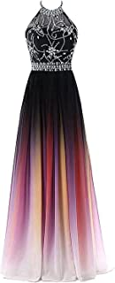 Kivary Sheer Beaded Halter Gradient Ombre Chiffon Long Prom Evening Dresses