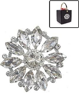 Trimming Shop Crystal Rhinestone Motif Applique Patch Diamante Sewing Motif for Embellishment Wedding, Bridal, Gown, Dress, Fashion Accessories, 80mm, Silver