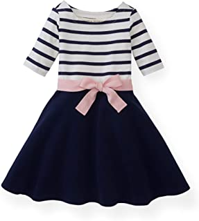 Hope & Henry Girls' 3/4 Sleeve Lightweight Skater Dress
