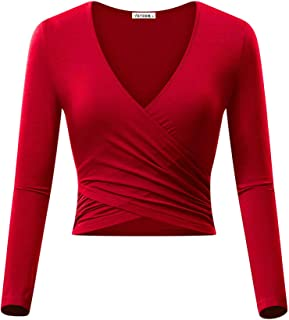 Best red wrap crop top Reviews
