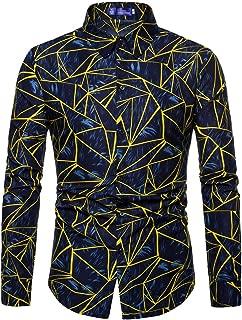 Mens Shirts Novelty Printed Buttoned Down Shirt Long Sleeve Camo Slim Fit Dress Tops Zulmaliu
