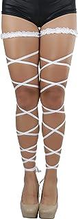 ToBeInStyle Womens Elegant and Fun Rave Lace Top Garter Leg Wrap Set