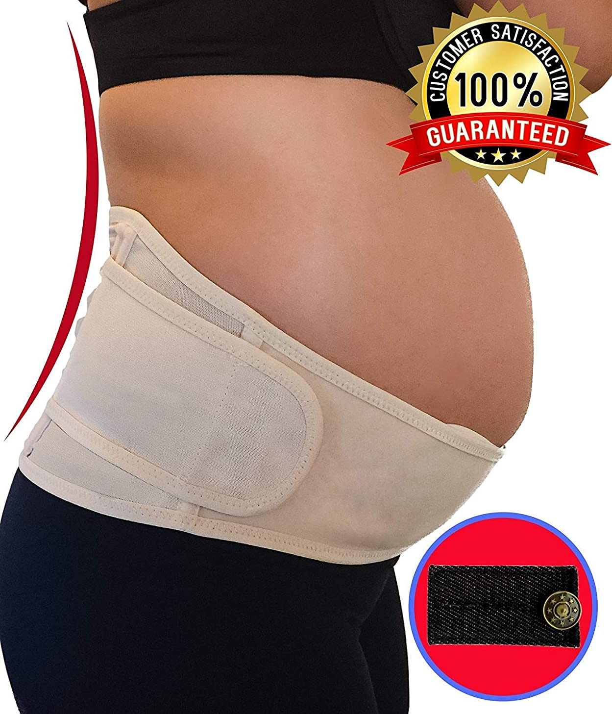 Belly Band for Pregnancy | Maternity Belt Support for Back, Pelvic, Hip, Abdomen, Sciatica Pain Relief 2nd-3rd Trimester | Comfortable Girdle for Running, Walking, Sitting (BEIGE)