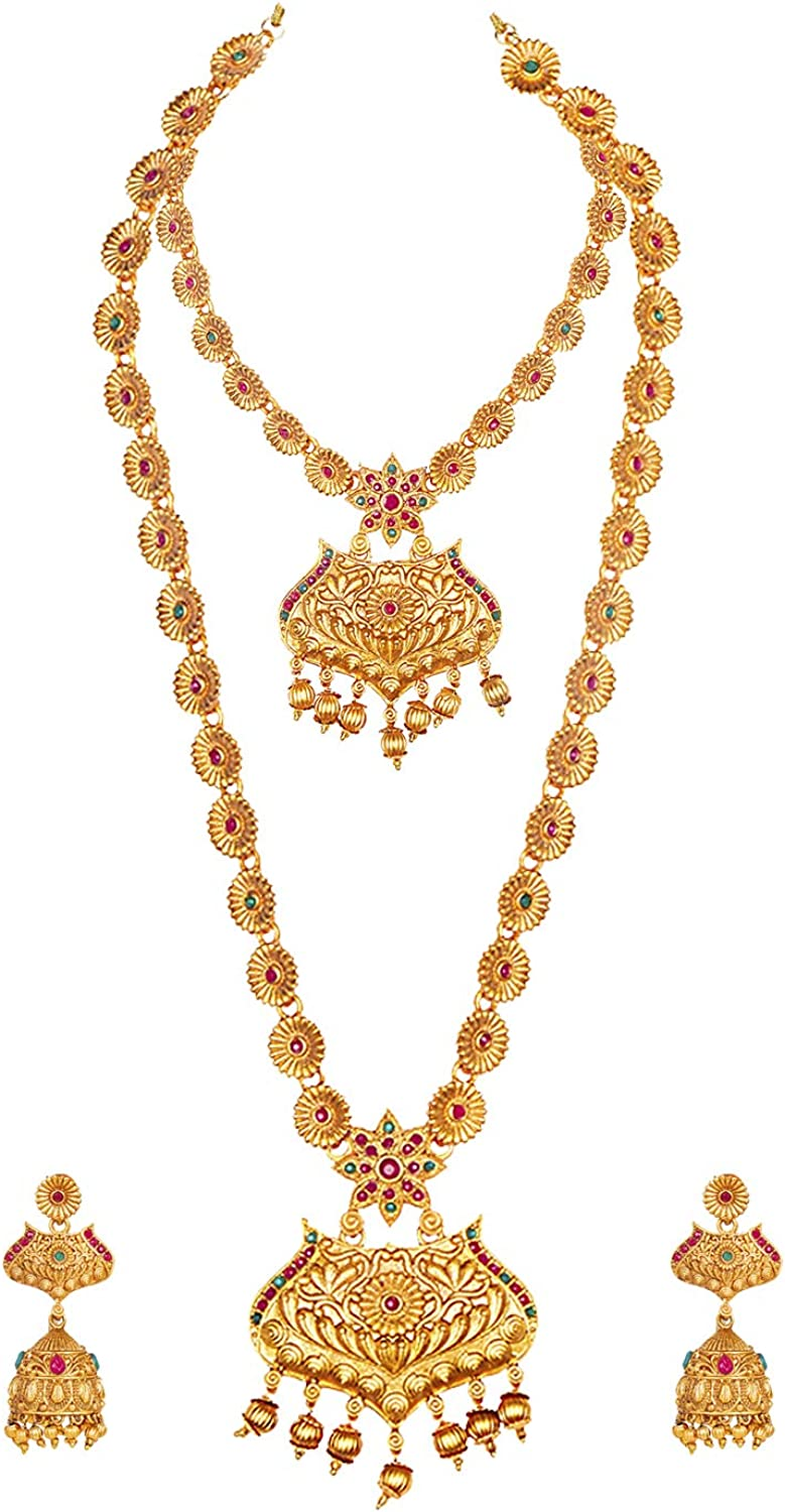 bodha Traditional Indian Handcrafted 18K Antique Gold Plated Temple Jewellery Combo Bridal Dulhan Necklace Set with Matching Earring for Women (SJ_2890)
