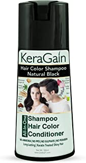 Looks21 Kera Gain Hair Color Shampoo (Natural Black, 180ml) - Professional Hair Color at Home - Ammonia Free PPD Free Sulp...