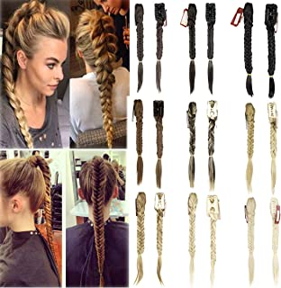 Long Woman Fish Tail Clip In Braided Ponytail Plaited Synthetic Hair Extensions