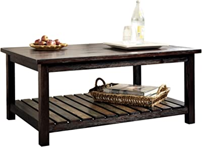 Signature Design by Ashley - Mestler Rustic Coffee Table w/ Fixed Multi-Colored Shelf, Brown
