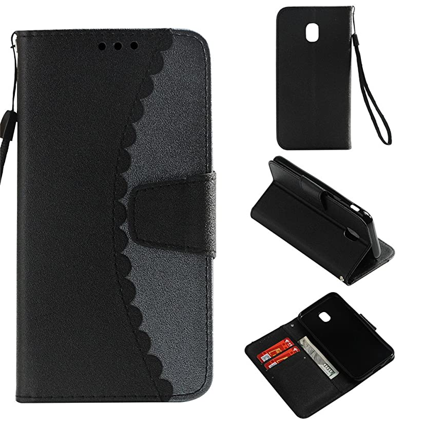 IVY Galaxy J7 Pro (7) Color Splicing Wallet Case For Samsung J7 Pro 2017 PU Leather Flip Case Cover [Stand Feature][Card Storage][Magnetic Clasp] - [Black,Gray]