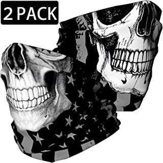 Skull Face Mask Bandana, Motorcycle Face Mask for Men Women, Skeleton Half Face Mask Sun..