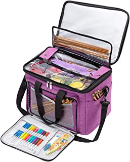 BENGDA Knitting Bags and Totes,Crochet Yarn Organizer with Inner Divider for Knitting Needles,Project and Supplies,Easy to Carry, High Capacity (Purple with Cover)