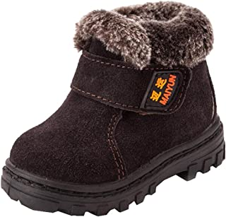 DADAWEN Boy's Girl's Suede Leather Outdoor Waterproof Fur Lined Winter Snow Boots (Toddler/Little Kid/Big Kid)