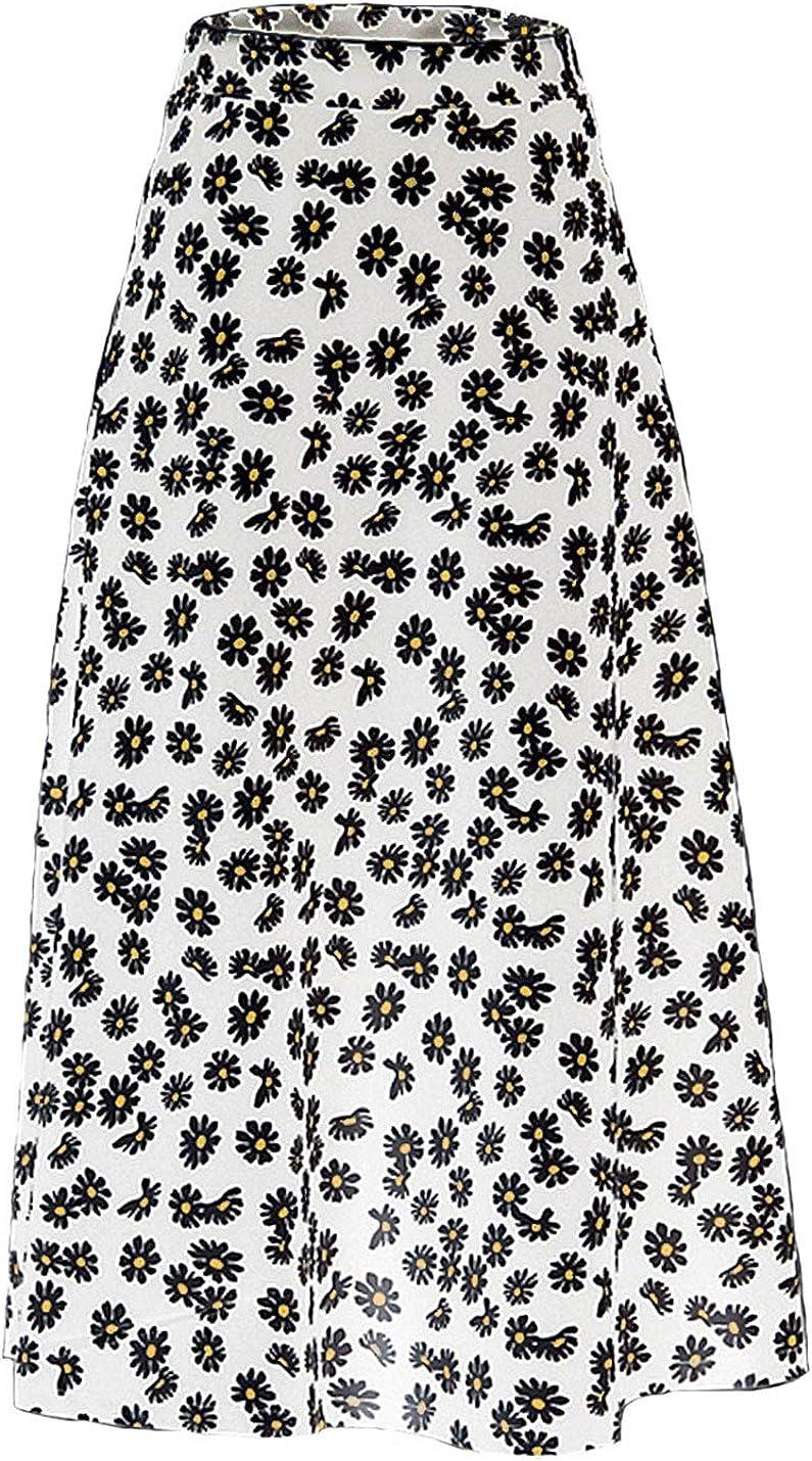Uaneo Women's Boho Floral Print High Waist A Line Swing Midi Casual Skirt(White-L)