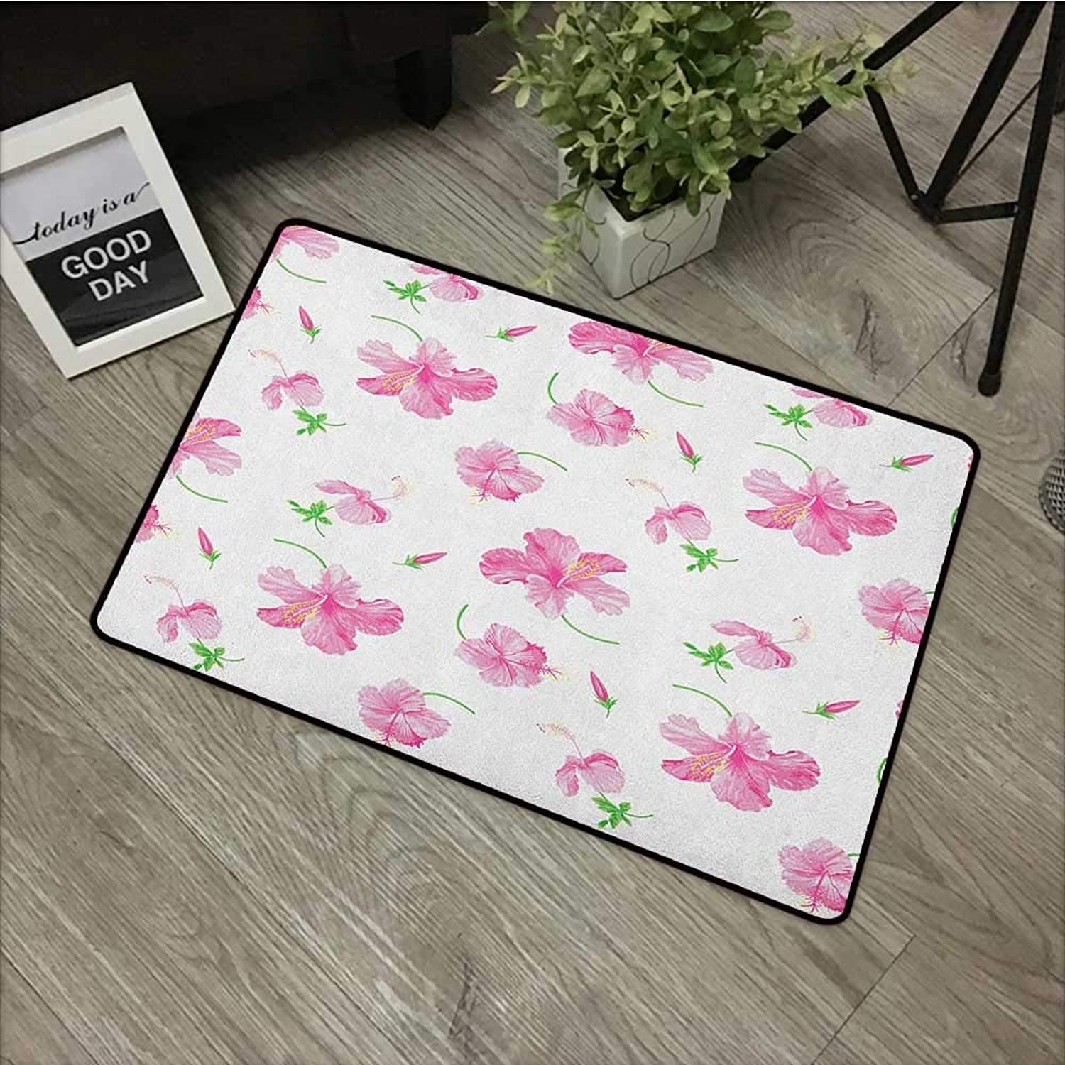 Bathroom Anti-Slip Door mat W35 x L59 INCH Flower,Hibiscus Bloom Flowers on a Plain Background with Floral Patterns in Country Style, Pink White with Non-Slip Backing Door Mat Carpet