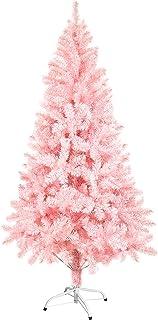 comprar comparacion SunJas Árbol de Navidad Artificial Árbol Espeso Soporte Metálico, Árbol de Material de PVC - Rosado Claro (150cm, 400puntas)