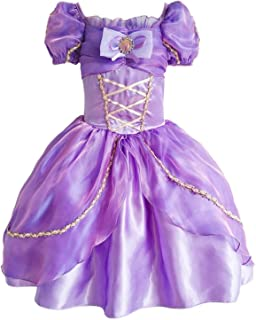 Little Girls Fancy Short Sleeve Summer Dresses Princess Rapunzel Costumes Birthday Party Evening Dress up