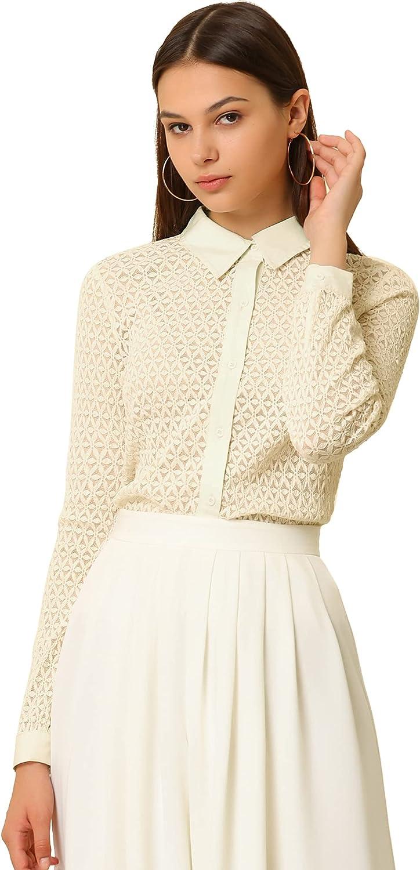 Allegra K Women's Lace Elegant Casual Long Sleeve Button Down Shirt