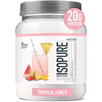 """Isopure Infusions, Refreshingly Light Fruit Flavored Whey Protein Isolate Powder, """"Shake Vigorously & Infuses in a Minute"""", Tropical Punch, 16 Servings"""