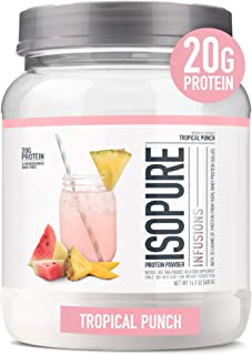 "ISOPURE INFUSIONS, Refresinghlt Light Fruit Flavored Whey Protein Isolate Powder, ""Shake Vigourously & Infuses in a Minute"", Tropical Punch, 16 Servings"