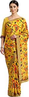 Chhabra 555 Crepe with Blouse Piece Saree (XEDY9218_Yellow_OneSize)
