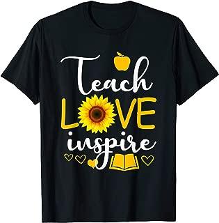 Teach Love And Inspire Shirt - Teacher Sunflower T-Shirt