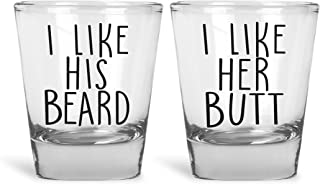 Mad Ink Fashions I Like His Beard, I Like Her Butt Funny Novelty Couples Shot Glasses | Set of 2 Shot Glasses | Great for Bride, Groom, Husband, Wife, Boyfriend, Girlfriend and Couples by