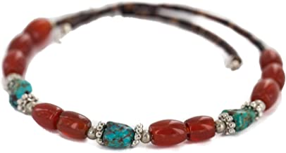 $80Tag Navajo Certified Turquoise Carnelian Native Adjustable Wrap Bracelet 13172-11 Made by Loma Siiva