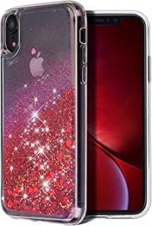 WORLDMOM for iPhone XR Case, Double Layer Design Bling Flowing Liquid Floating Sparkle Colorful Glitter Waterfall TPU Protective Phone Case for Apple iPhone XR [6.1 Inch 2018], Red
