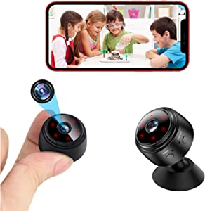 Spy Camera Wireless Hidden Mini WiFi Nanny Cam Small Home Security Baby Monitor Surveillance Cam Indoor Video Recorder with Live Feed Phone APP Remote Viewing Motion Detection Night Vision