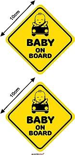 Autodomy Pegatinas Baby On Board Bebé a Bordo Baby in Car Pack 2 Unidades Uso Interno para Coche (Uso Interno)