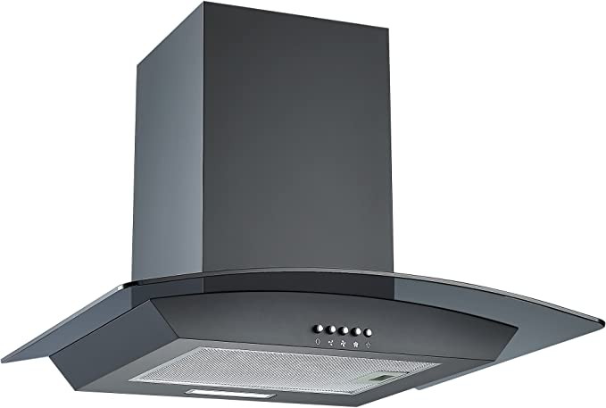 Cookology Curved Glass Chimney Cooker Hood Wall Mounted Extractor Fan Led Lighting Adjustable Height Black 60cm Amazon Co Uk Large Appliances
