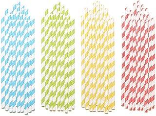 Bodas,Celebraciones Pajitas de Papel Biodegradables para Fiestas Navide/ñas 8 Colores Cumplea/ños ZWOOS 200 Pcs Pajitas de Papel