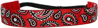 BEACHGIRL Bands Headband Adjustable Elastic Non-Slip Workout Hairband For Women & Girls Red Bandana