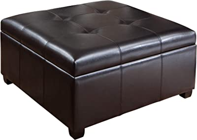 Christopher Knight Home Carlsbad Bonded Leather Storage Ottoman, Espresso