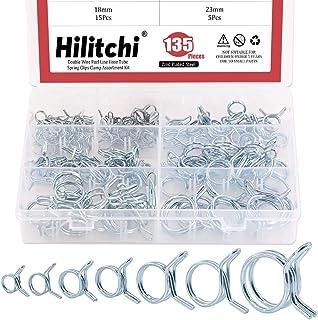 Hilitchi 135-Pcs Double Wire Fuel Line Hose Tube Spring Clips Clamp Assortment Kit