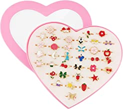SUNMALL 36 pcs Little Girl Adjustable Rings in Box, No Duplication, Children Kids Jewelry Rings Set with Heart Shape Displ...