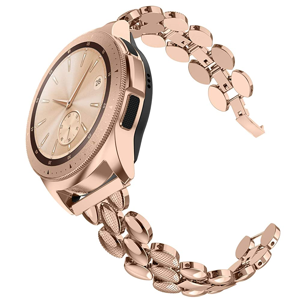 TOTOUTHS Compatible for Samsung Galaxy Watch(42mm) Bands, 20mm Stainless Steel Replacement Bracelet for Galaxy Watch 42mm/Galaxy Watch Active 40mm Metal Strap Wristband Rose Gold Silver Black