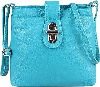 OBC Damen Leder Tasche Schultertasche Crossover Umhängetasche Vera Pelle Schmucktasche Clutch Abendtasche Cross Body City Bag