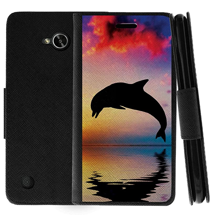 TurtleArmor | Compatible for LG X Power 2 Case | LG Fiesta 2 Case | LG X Charge Case | Flip Kickstand Leather Wallet Case Cover with Card Slots Sea Ocean Design - Dolphin Jump