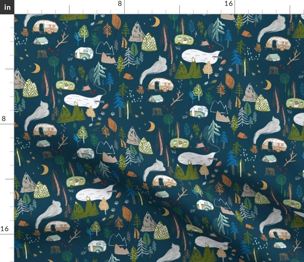 Spoonflower Fabric - Camper Max 42% Very popular OFF Navy Tent Fo Mountain Camping Hiking