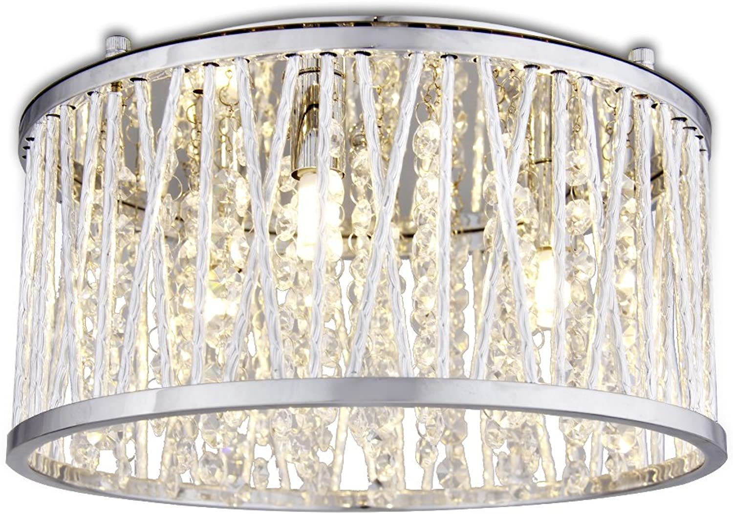 12  Loretta Flush mount Ceiling Light Fixture Pendant Polished Chrome, Polished Chrome cross-over shade with glistening Crystal strands for dimensional shine, perfect for entryways, dining rooms
