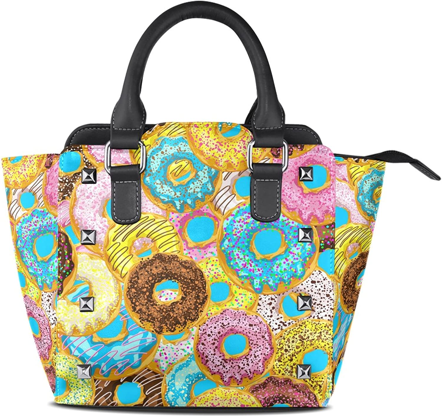 My Little Nest Women's Top Handle Satchel Handbag colorful Donuts with Sprinkles Ladies PU Leather Shoulder Bag Crossbody Bag
