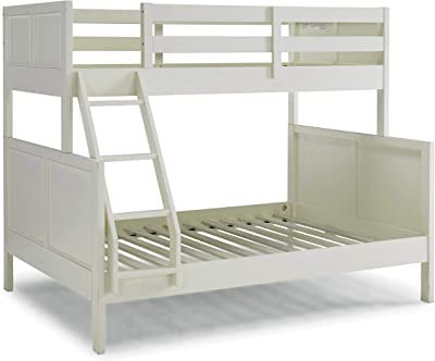 Amazon Com Home Styles Naples White Twin Over Full Bunk Bed With Steps Crated From Solid Hardwoods Angled Side Ladder Furniture Decor