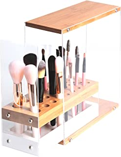 JackCubeDesign 31 Holes Acrylic Bamboo Brush Holder Organiser Beauty Cosmetic Display Stand with Leather Drawer(White, 22.3 x 8.6 x 21.5 cm) – :MK228D