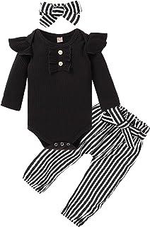 ملابس أطفال بأكمام طائرة رومبير + بنطلون مخطط/زهري + عصابة رأس أزياء شتوية لطيفة للأطفال من عمر الولادة إلى 24 شهر