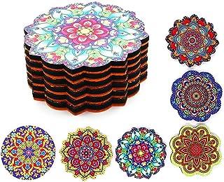 Drink Coasters, Wooden Coasters for Office, Restaurant, Living Room Decor, Housewarming Gift, Decorative Mandala Print Des...