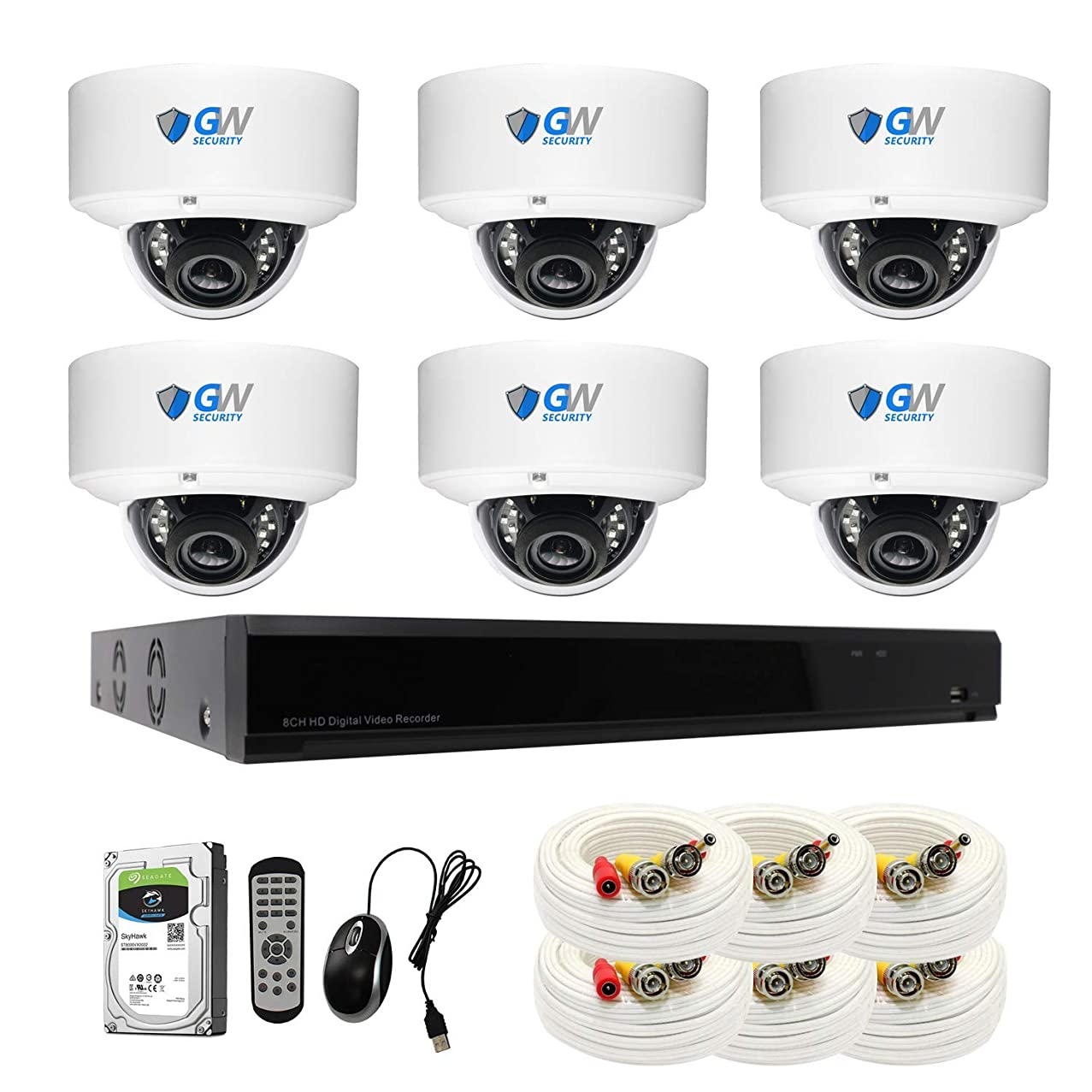 【2019 New】 GW 8CH 4K DVR H.265 8MP Complete Security System with (6) x 4K 2160P Waterproof 2.8-12mm Varifocal Zoom Dome CCTV Security Cameras, 100ft IR Night Vision, 3TB Hard Drive