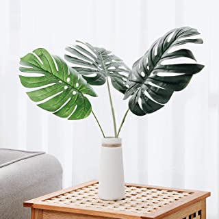 Olivachel Artificial Leaves Tropical Monstera Leaves Palm Tree Leaf Plant DIY Decorations for Home Kitchen Wedding Party (Monstera Leaves - 3pack)