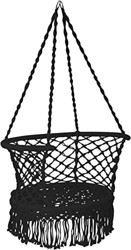 wholesale Giantex Hanging outlet sale Hammock Chair, Macrame Hanging Chair 330 Pounds Capacity, Cotton Rope Handwoven Tassels Porch Swing Chair for Bedroom, Living Room, Yard, Garden, Balcony, discount Indoor / Outdoor (Black) sale