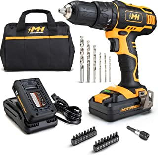 """MOTORHEAD 20V ULTRA Cordless Drill Driver, Lithium-Ion, ½"""" Keyless Chuck, 16+1+1 Clutch, 2-Speed Transmission, Variable Sp..."""